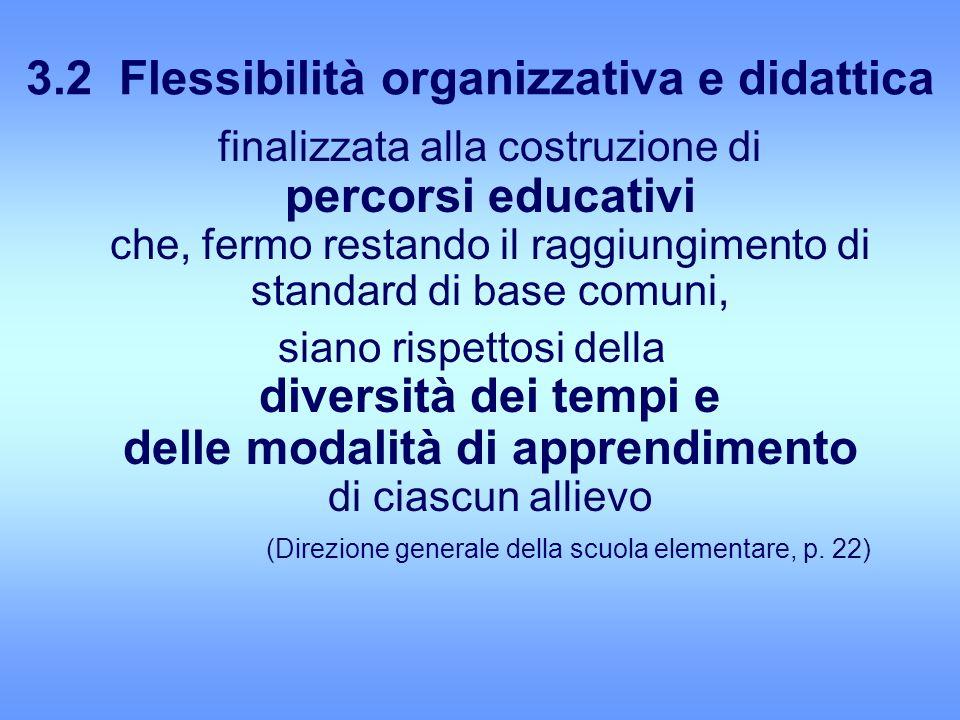3.2 Flessibilità organizzativa e didattica