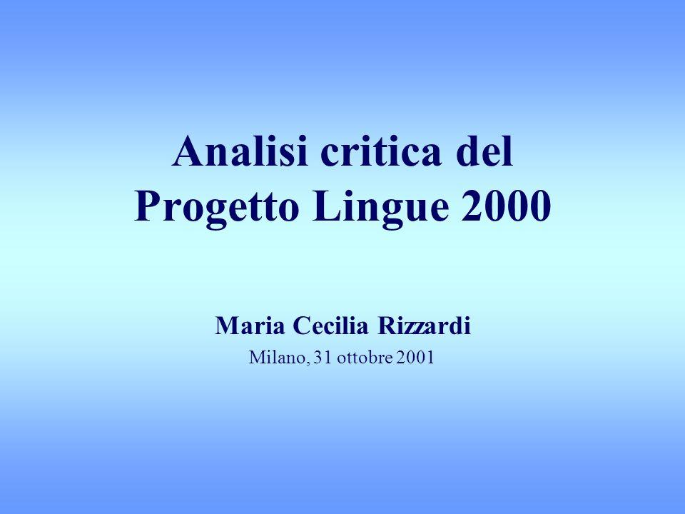 Analisi critica del Progetto Lingue 2000
