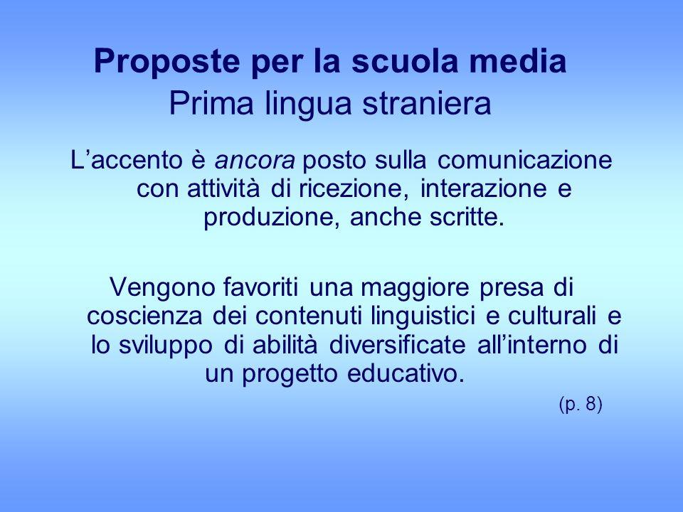 Proposte per la scuola media Prima lingua straniera