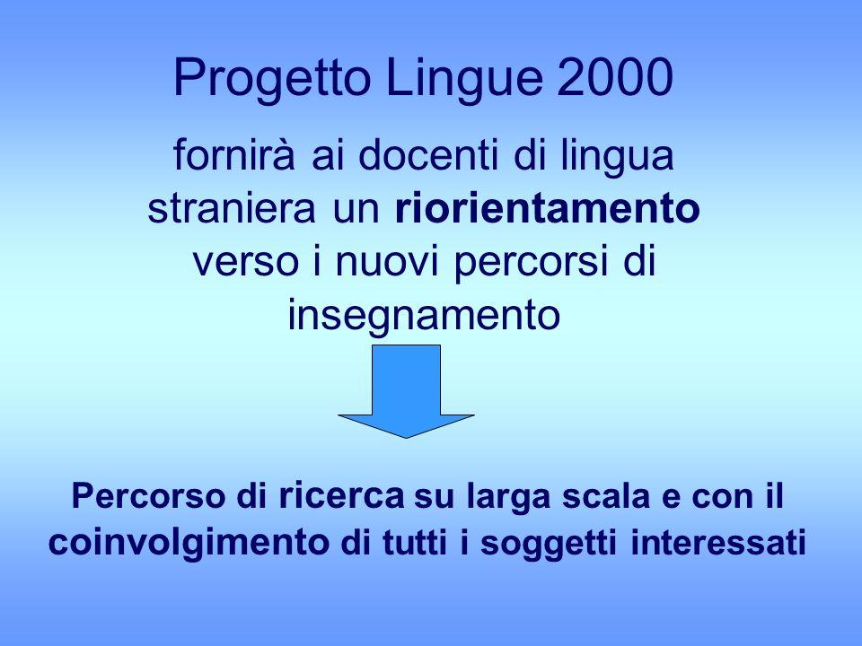 Progetto Lingue 2000 fornirà ai docenti di lingua straniera un riorientamento verso i nuovi percorsi di insegnamento.