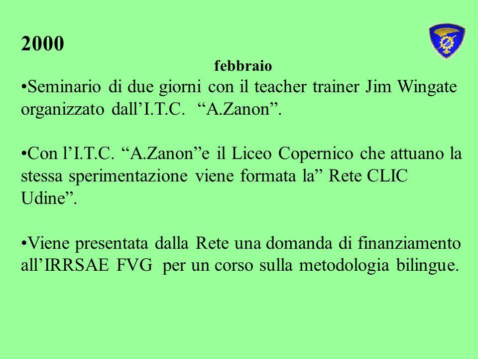 2000 febbraio. Seminario di due giorni con il teacher trainer Jim Wingate organizzato dall'I.T.C. A.Zanon .