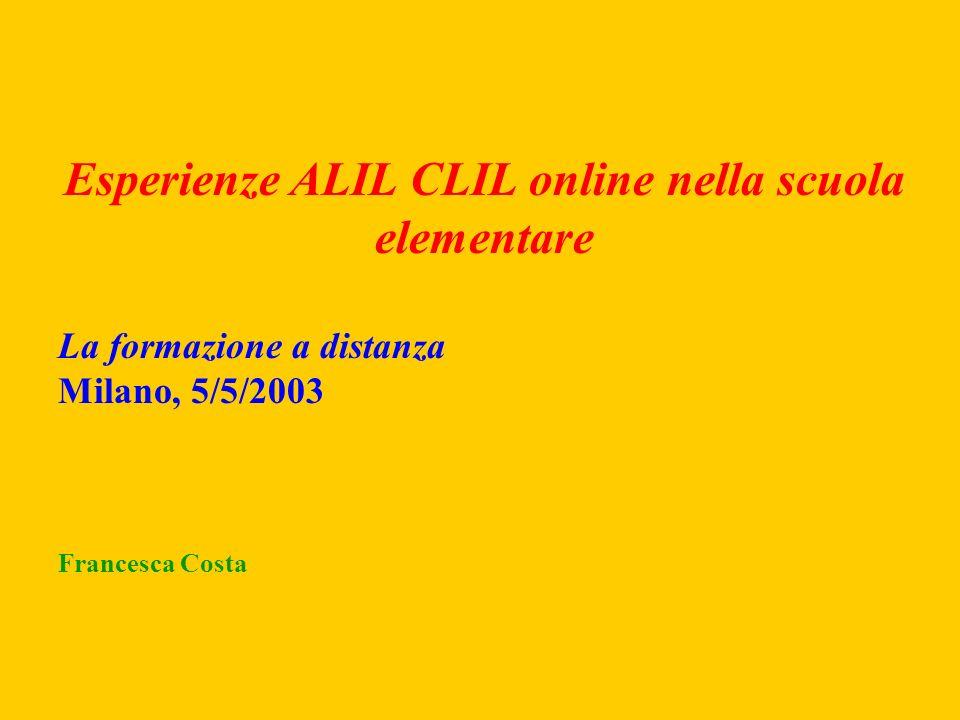 Esperienze ALIL CLIL online nella scuola elementare