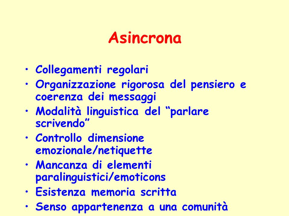 Asincrona Collegamenti regolari