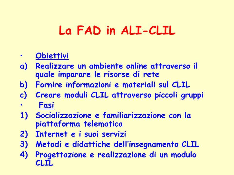 La FAD in ALI-CLIL Obiettivi