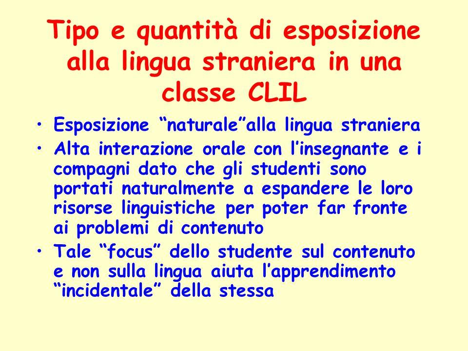 Tipo e quantità di esposizione alla lingua straniera in una classe CLIL