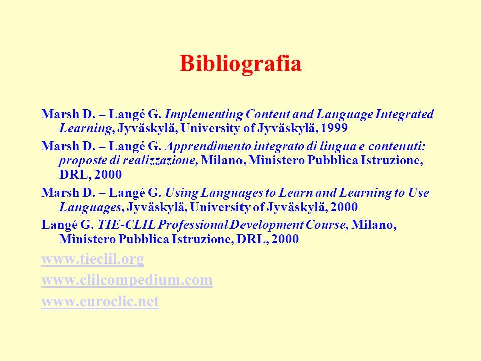 Bibliografia www.tieclil.org www.clilcompedium.com www.euroclic.net