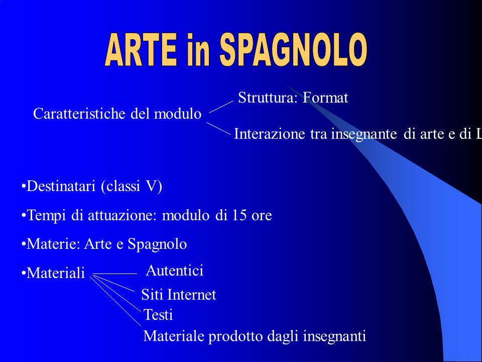 ARTE in SPAGNOLO Struttura: Format Caratteristiche del modulo