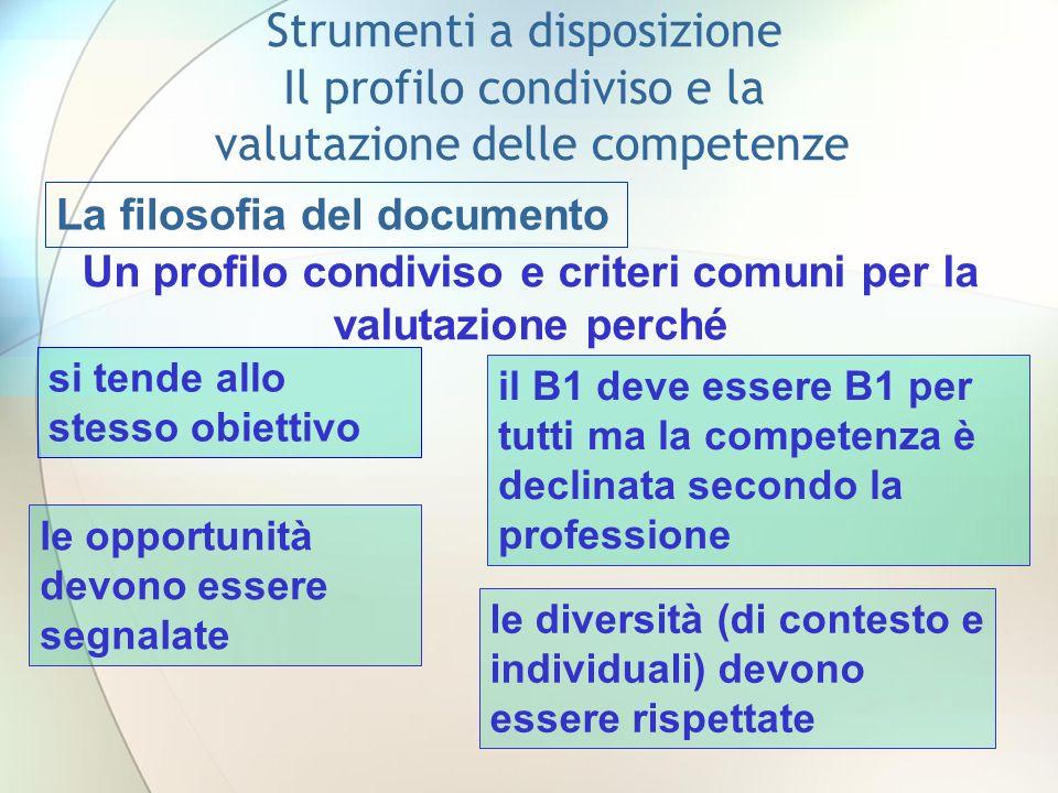 Un profilo condiviso e criteri comuni per la valutazione perché
