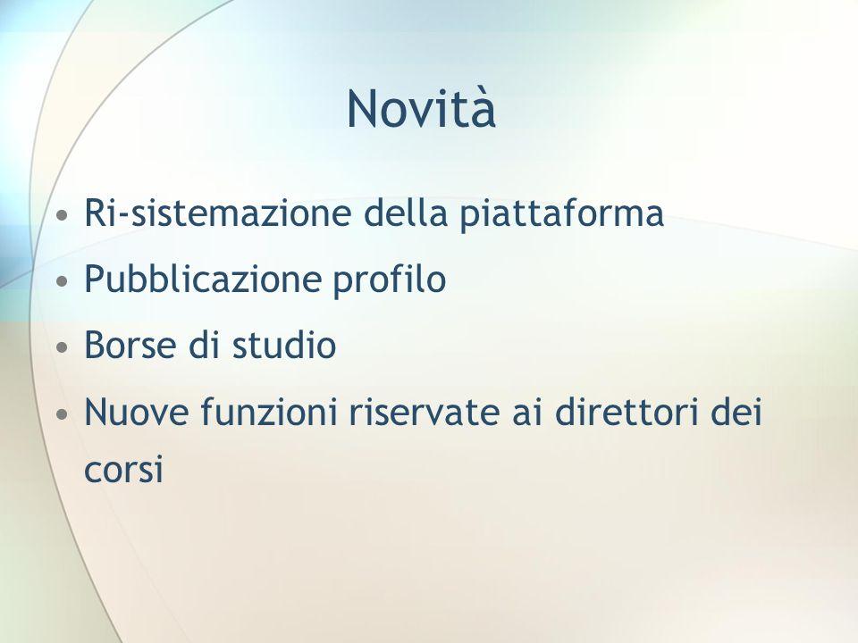 Novità Ri-sistemazione della piattaforma Pubblicazione profilo