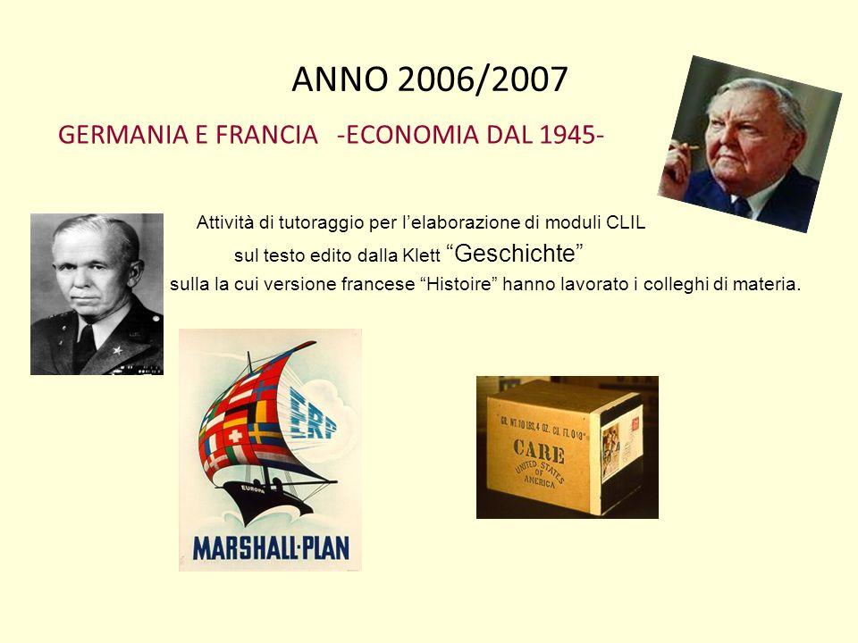 ANNO 2006/2007 GERMANIA E FRANCIA -ECONOMIA DAL 1945-