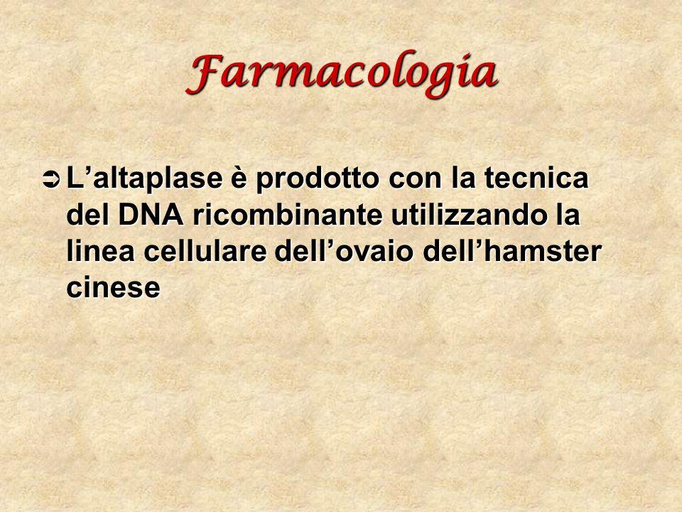 Farmacologia L'altaplase è prodotto con la tecnica del DNA ricombinante utilizzando la linea cellulare dell'ovaio dell'hamster cinese.