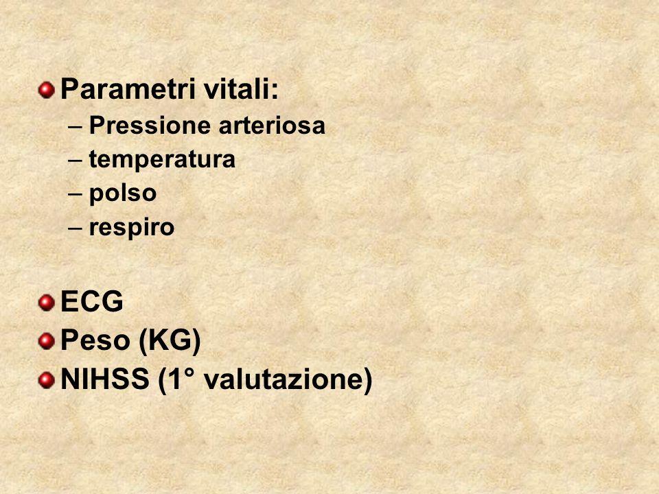 Parametri vitali: ECG Peso (KG) NIHSS (1° valutazione)