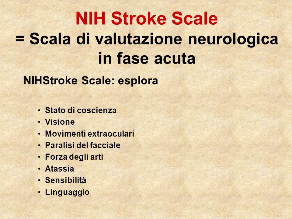 NIH Stroke Scale = Scala di valutazione neurologica in fase acuta