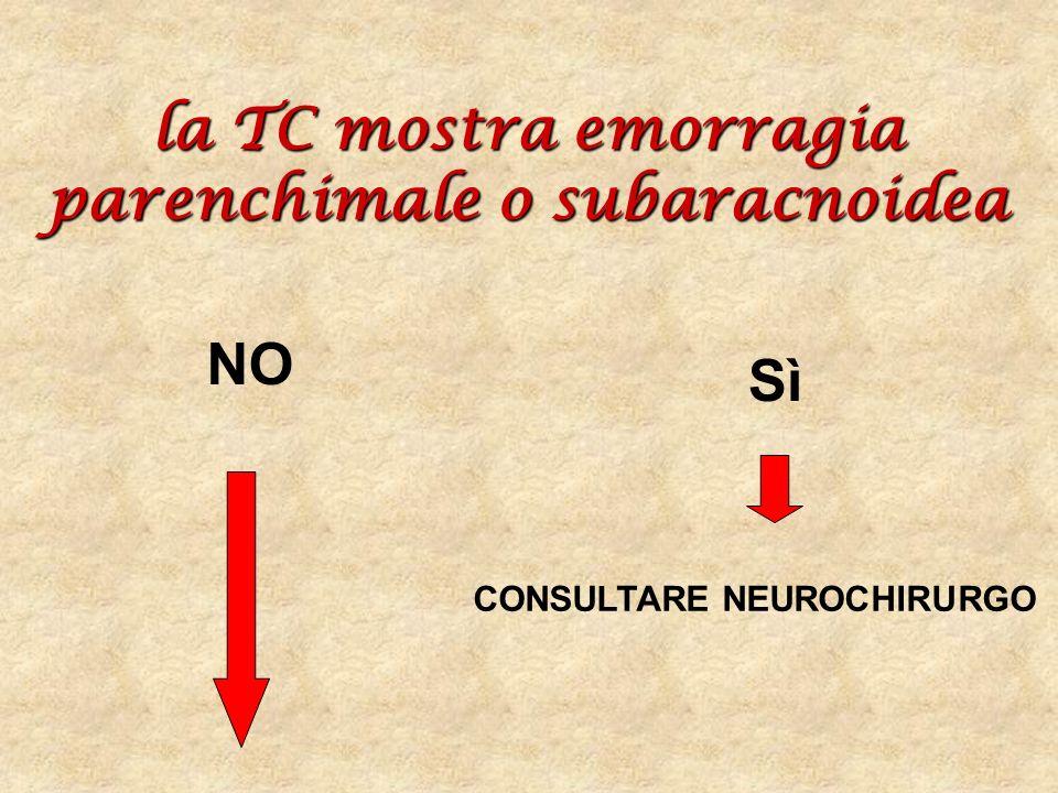 la TC mostra emorragia parenchimale o subaracnoidea