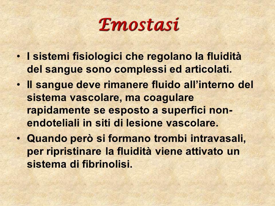 Emostasi I sistemi fisiologici che regolano la fluidità del sangue sono complessi ed articolati.