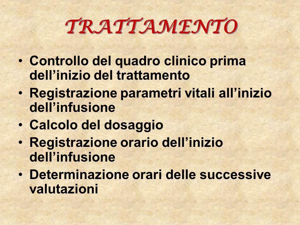 TRATTAMENTO Controllo del quadro clinico prima dell'inizio del trattamento. Registrazione parametri vitali all'inizio dell'infusione.