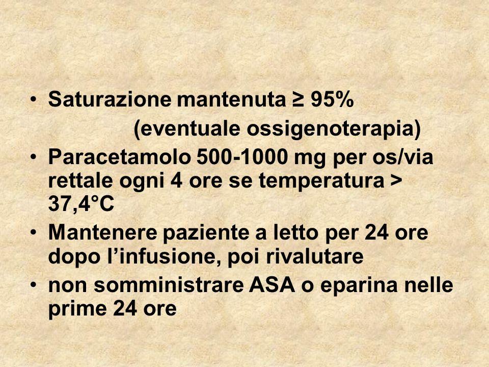 Saturazione mantenuta ≥ 95%
