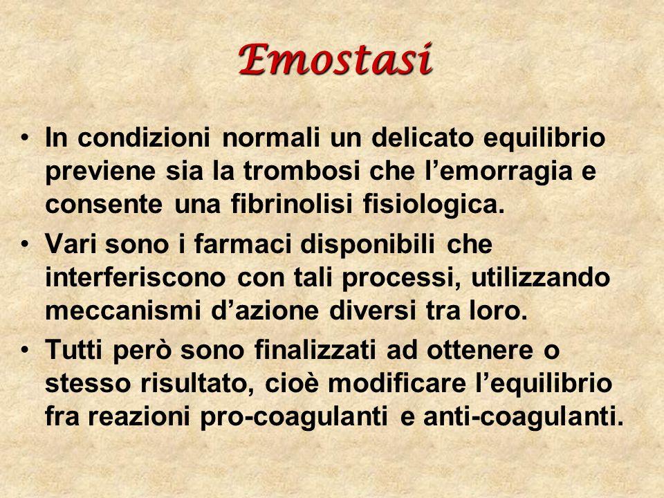 Emostasi In condizioni normali un delicato equilibrio previene sia la trombosi che l'emorragia e consente una fibrinolisi fisiologica.
