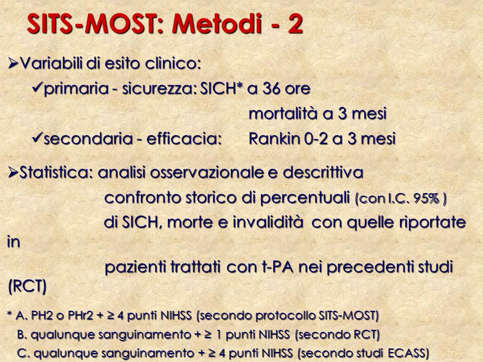 SITS-MOST: Metodi - 2 Variabili di esito clinico: