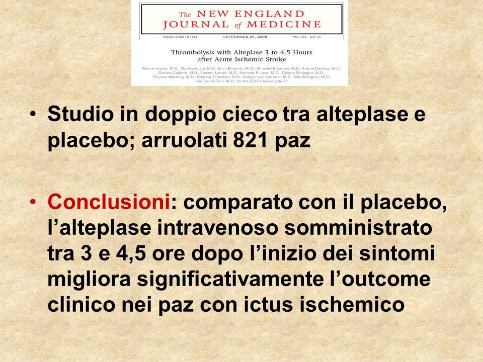 Studio in doppio cieco tra alteplase e placebo; arruolati 821 paz