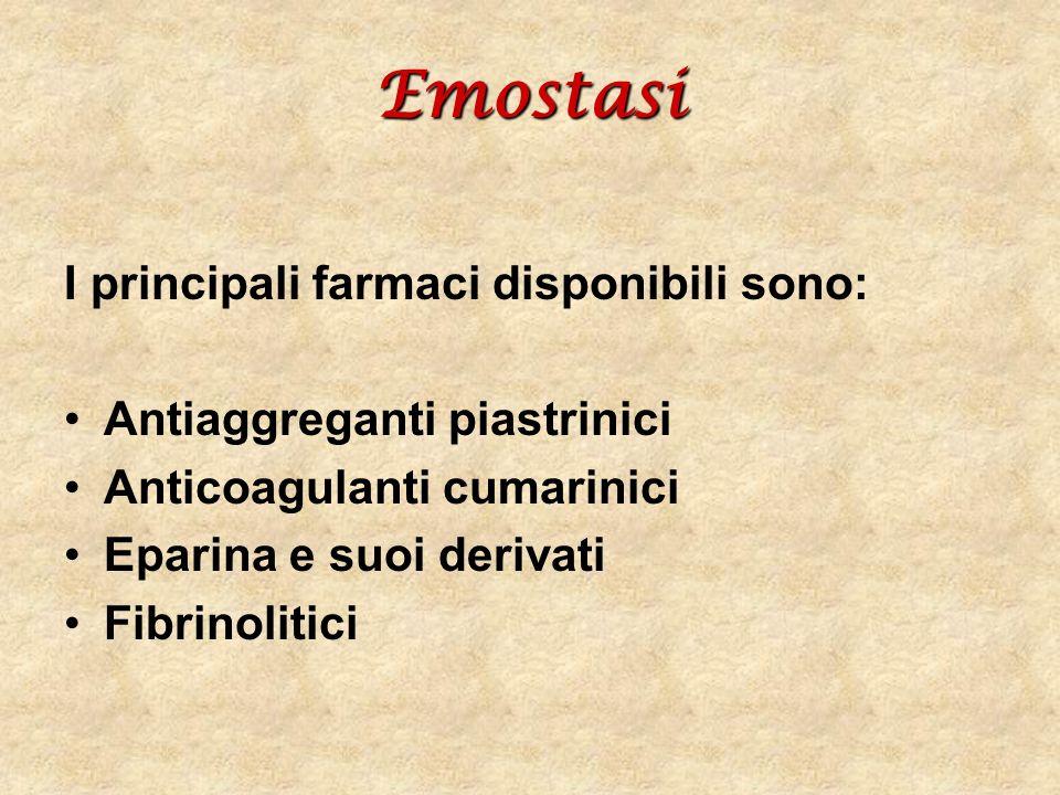 Emostasi I principali farmaci disponibili sono: