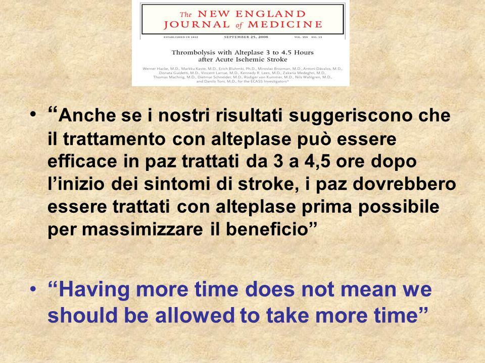 Anche se i nostri risultati suggeriscono che il trattamento con alteplase può essere efficace in paz trattati da 3 a 4,5 ore dopo l'inizio dei sintomi di stroke, i paz dovrebbero essere trattati con alteplase prima possibile per massimizzare il beneficio