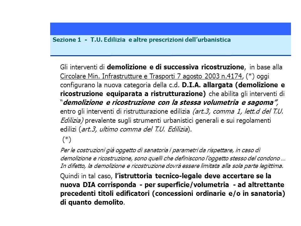 Sezione 1 - T.U. Edilizia e altre prescrizioni dell'urbanistica