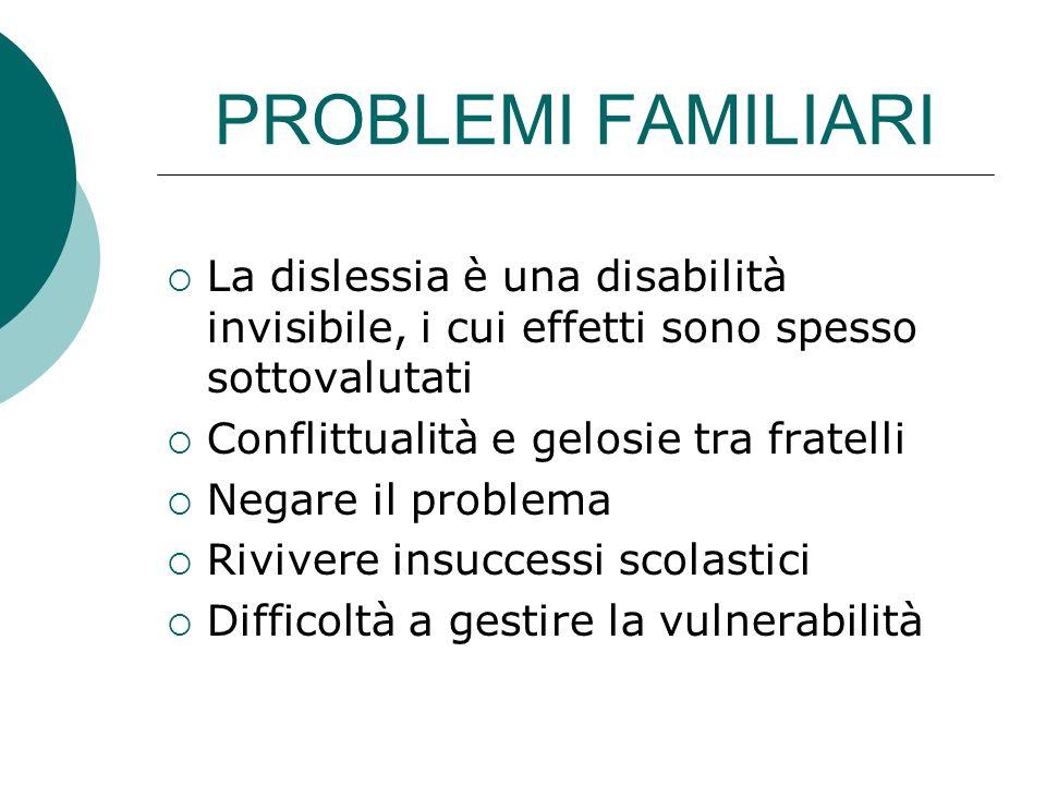 PROBLEMI FAMILIARI La dislessia è una disabilità invisibile, i cui effetti sono spesso sottovalutati.