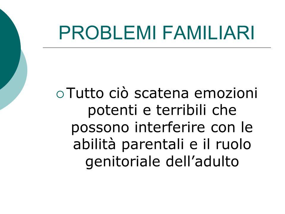 PROBLEMI FAMILIARI Tutto ciò scatena emozioni potenti e terribili che possono interferire con le abilità parentali e il ruolo genitoriale dell'adulto.