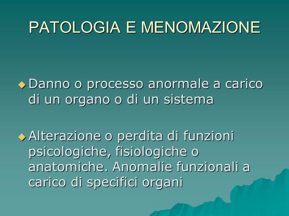 PATOLOGIA E MENOMAZIONE