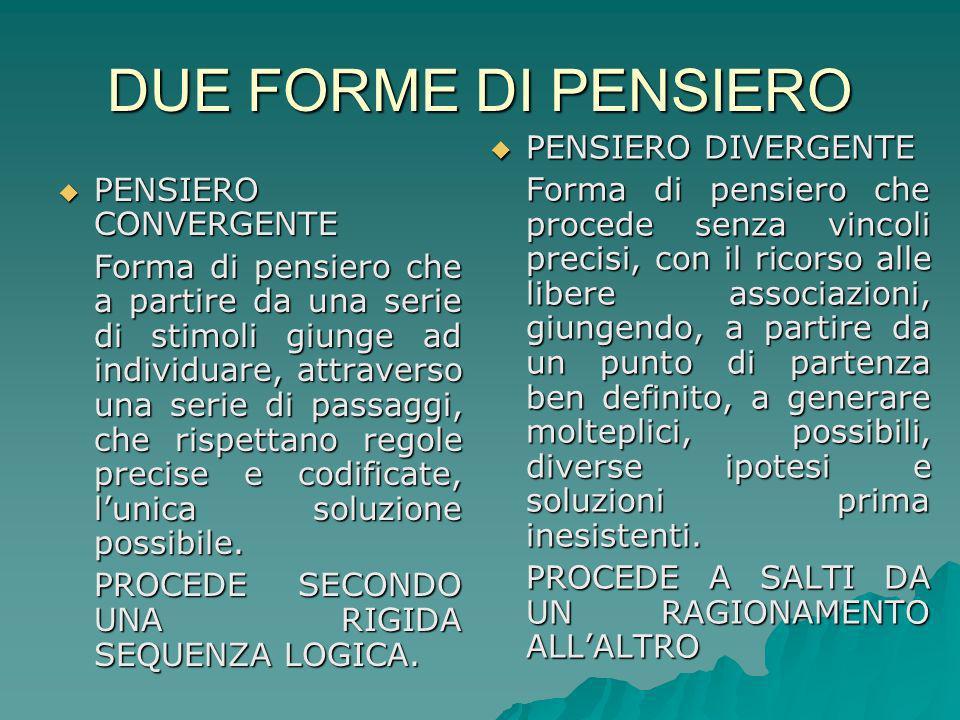 DUE FORME DI PENSIERO PENSIERO DIVERGENTE