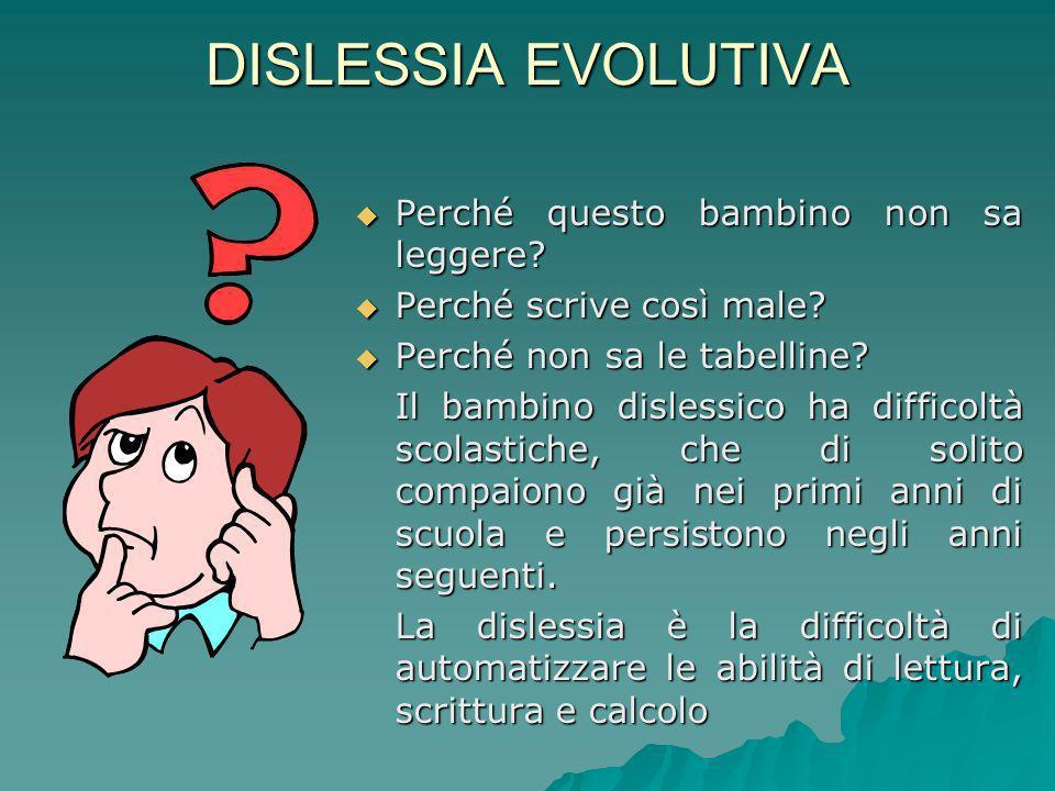 DISLESSIA EVOLUTIVA Perché questo bambino non sa leggere