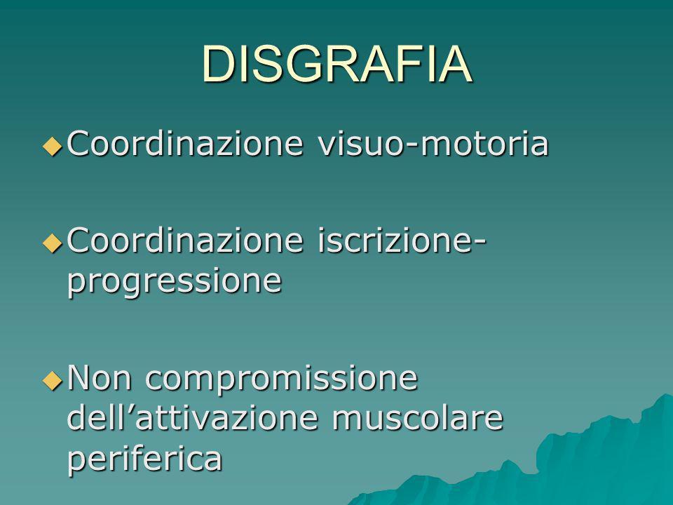 DISGRAFIA Coordinazione visuo-motoria