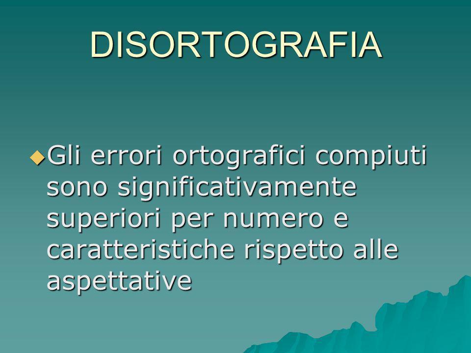DISORTOGRAFIAGli errori ortografici compiuti sono significativamente superiori per numero e caratteristiche rispetto alle aspettative.