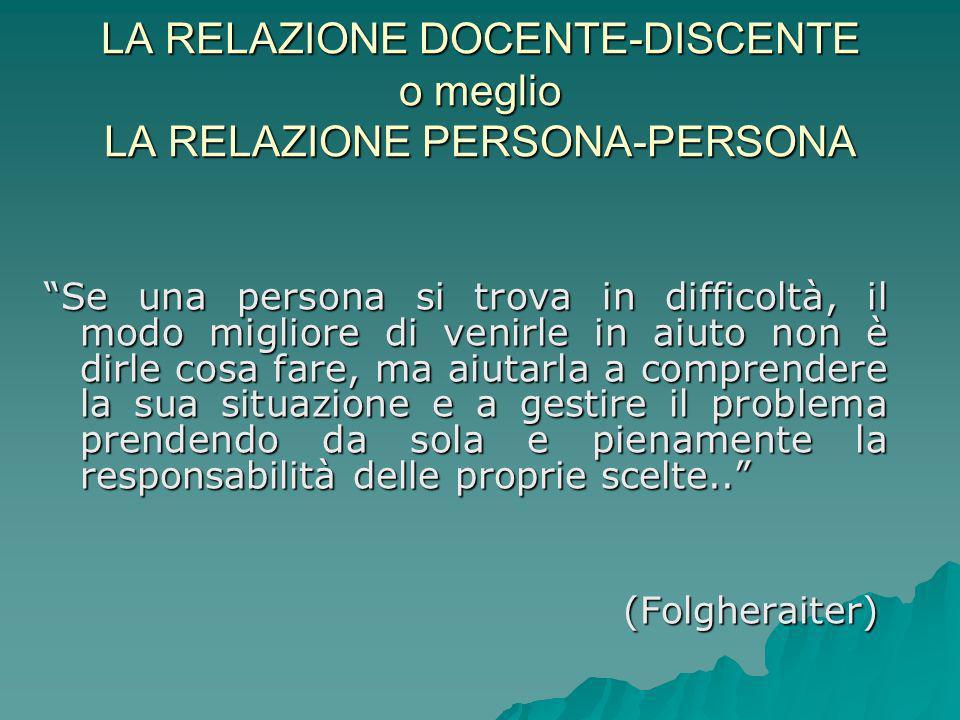 LA RELAZIONE DOCENTE-DISCENTE o meglio LA RELAZIONE PERSONA-PERSONA
