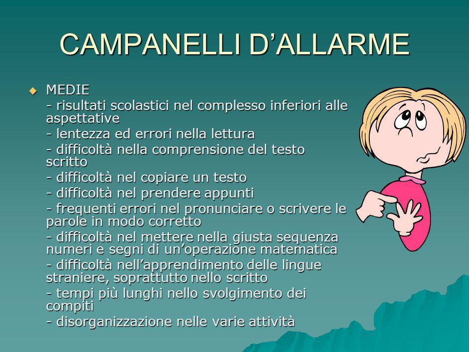 CAMPANELLI D'ALLARME MEDIE