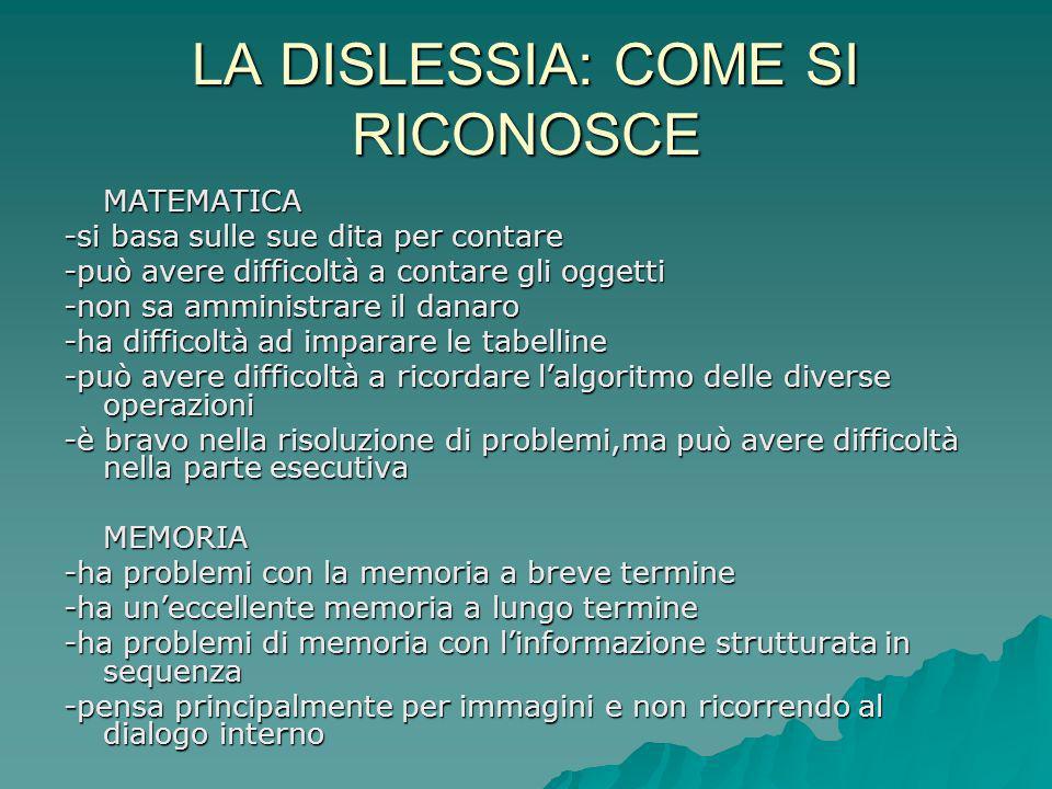 LA DISLESSIA: COME SI RICONOSCE
