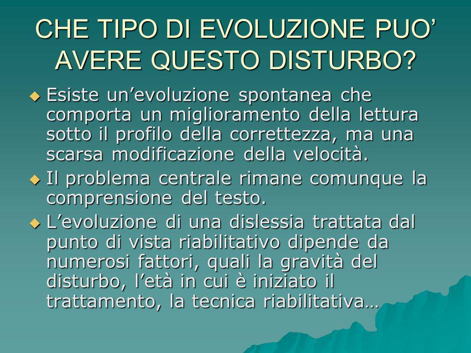 CHE TIPO DI EVOLUZIONE PUO' AVERE QUESTO DISTURBO