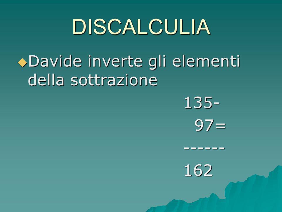 DISCALCULIA Davide inverte gli elementi della sottrazione 135- 97=