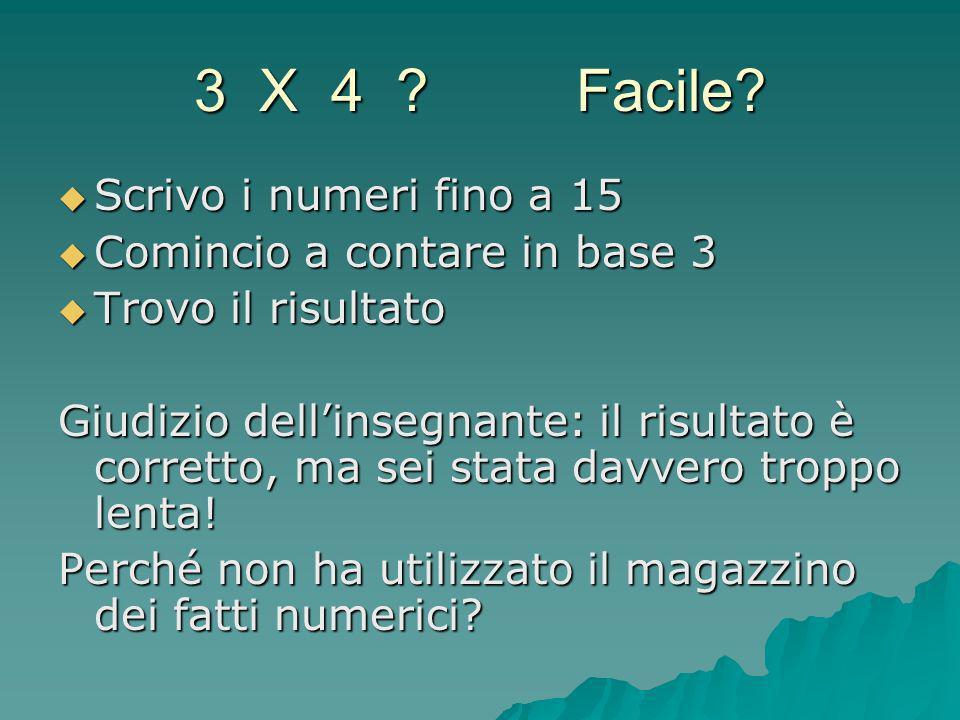 3 X 4 Facile Scrivo i numeri fino a 15 Comincio a contare in base 3
