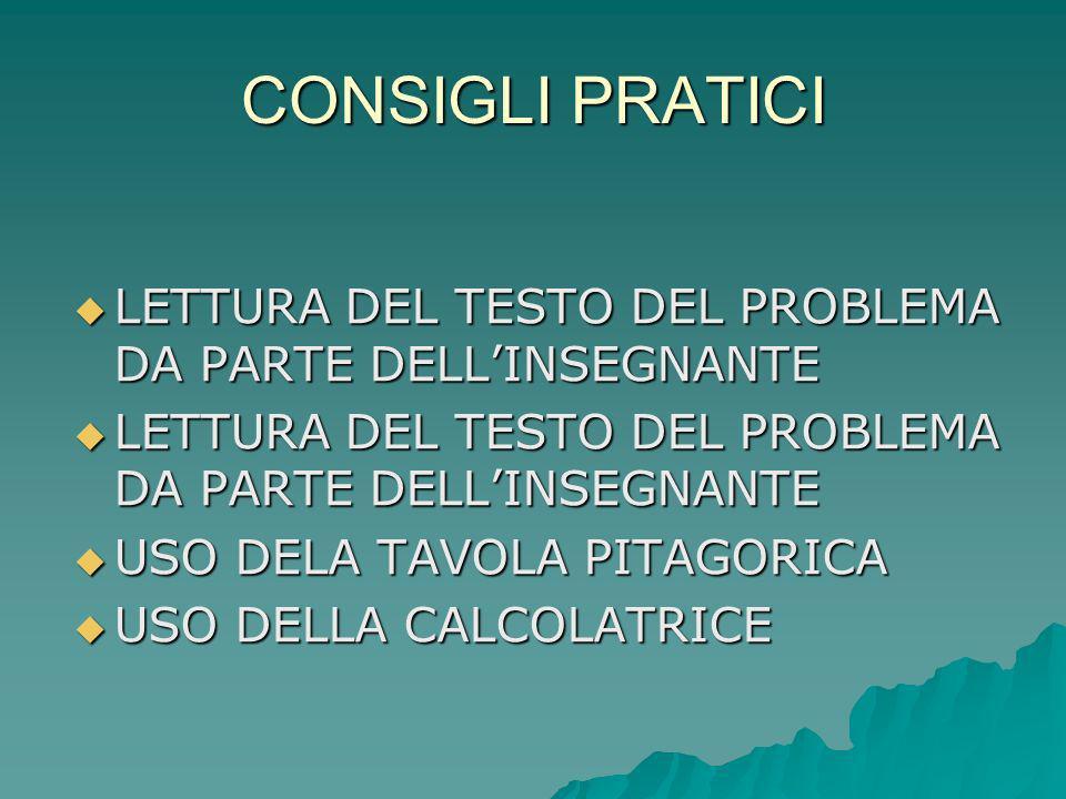 CONSIGLI PRATICI LETTURA DEL TESTO DEL PROBLEMA DA PARTE DELL'INSEGNANTE. USO DELA TAVOLA PITAGORICA.