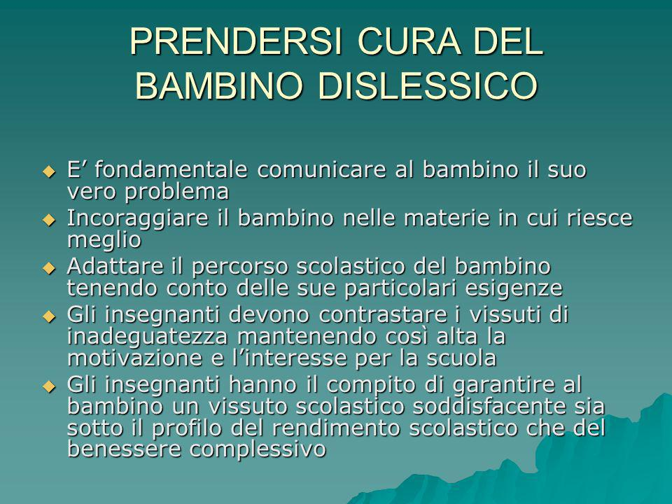 PRENDERSI CURA DEL BAMBINO DISLESSICO