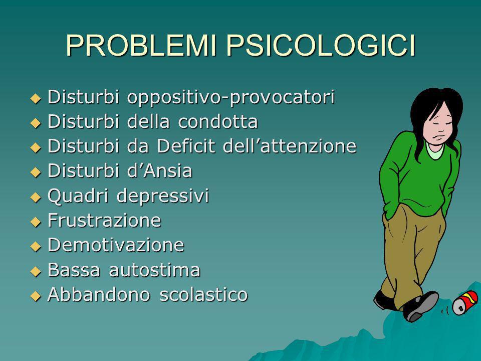 PROBLEMI PSICOLOGICI Disturbi oppositivo-provocatori