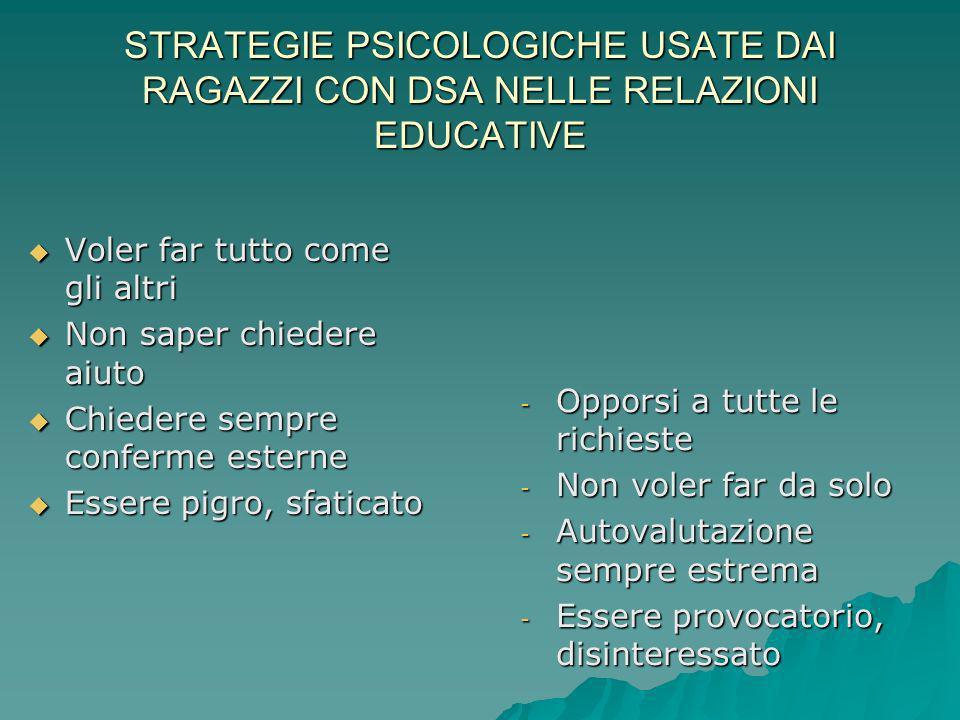 STRATEGIE PSICOLOGICHE USATE DAI RAGAZZI CON DSA NELLE RELAZIONI EDUCATIVE