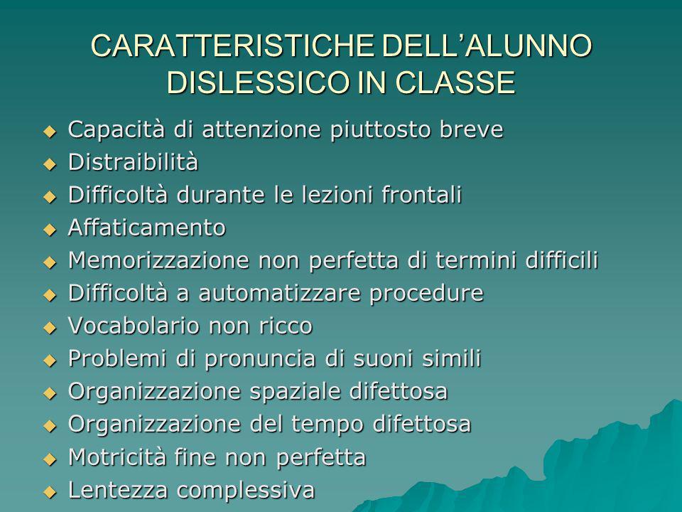 CARATTERISTICHE DELL'ALUNNO DISLESSICO IN CLASSE