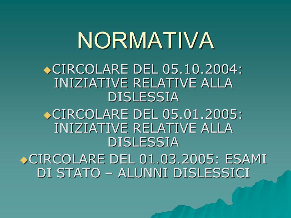 NORMATIVA CIRCOLARE DEL 05.10.2004: INIZIATIVE RELATIVE ALLA DISLESSIA