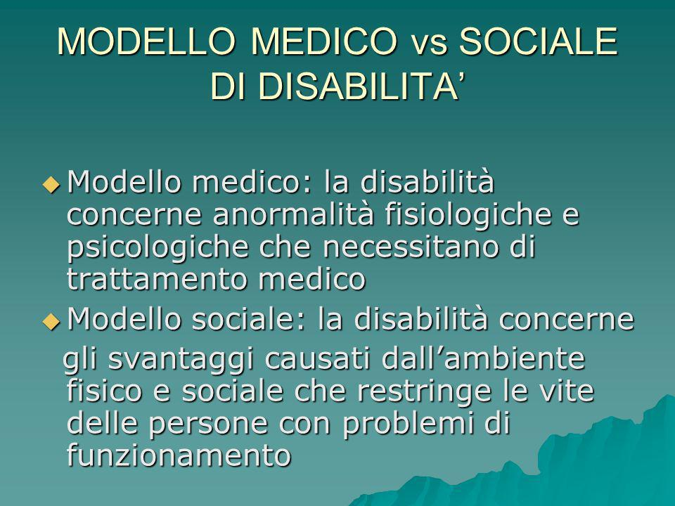 MODELLO MEDICO vs SOCIALE DI DISABILITA'