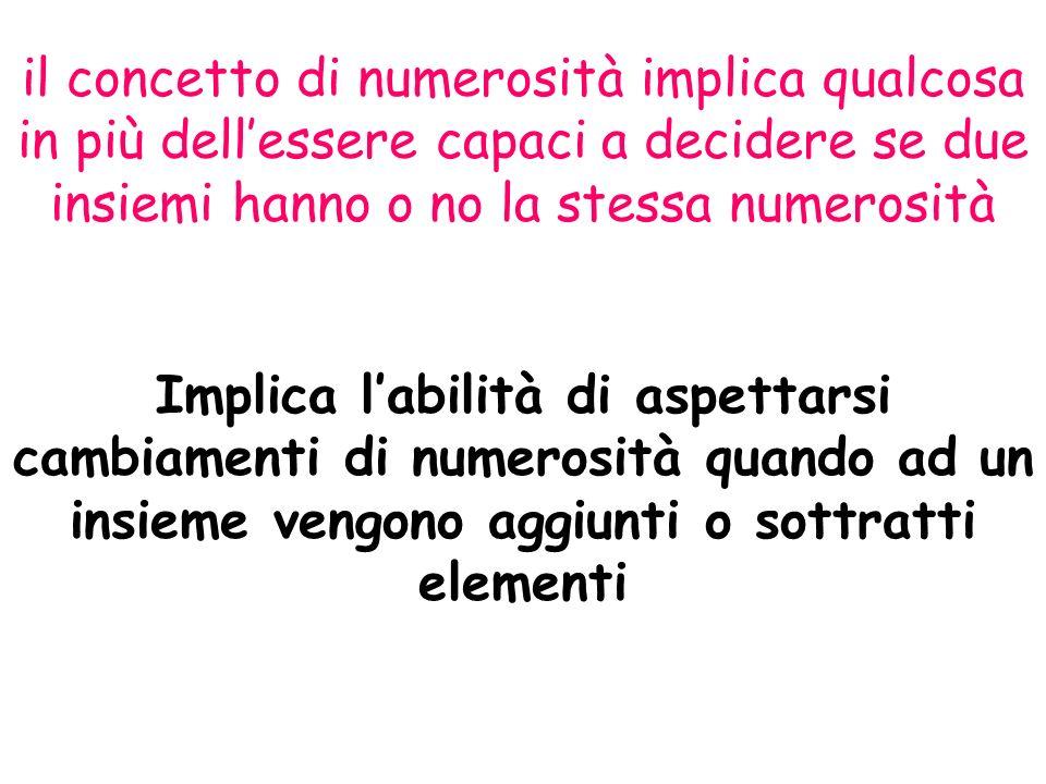il concetto di numerosità implica qualcosa in più dell'essere capaci a decidere se due insiemi hanno o no la stessa numerosità