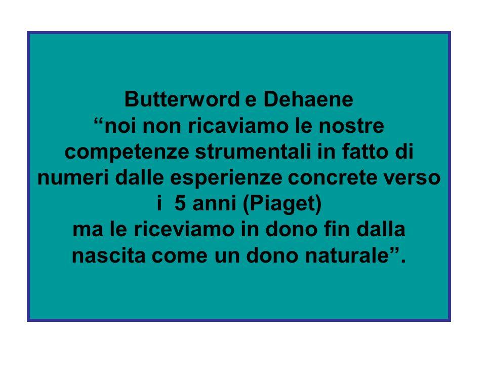 Butterword e Dehaene noi non ricaviamo le nostre competenze strumentali in fatto di numeri dalle esperienze concrete verso i 5 anni (Piaget) ma le riceviamo in dono fin dalla nascita come un dono naturale .