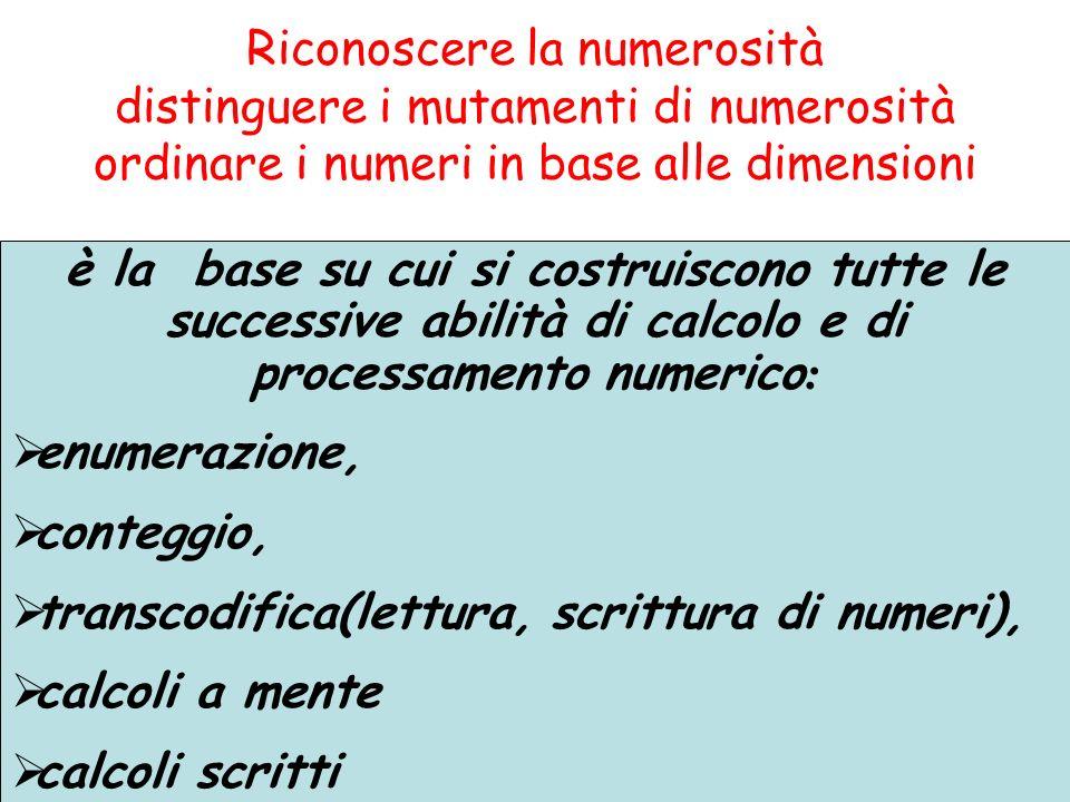 Riconoscere la numerosità distinguere i mutamenti di numerosità ordinare i numeri in base alle dimensioni